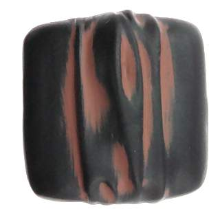 1 1/4 Inch Solid Pewter Hannah Square Knob (Black Terra Cotta Finish)