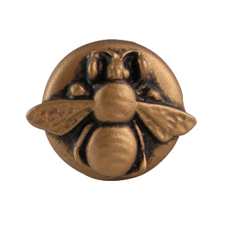 1 1/4 Inch Solid Pewter Bumblebee Knob (Antique Brass Gold Finish)