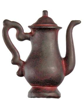 1 1/4 Inch Solid Pewter Teapot Knob (Right Facing, Rust Finish)