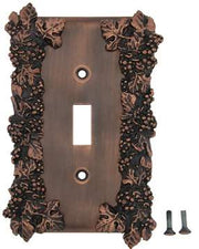 Grapes & Floral Wall Plate (Antique Copper Finish)
