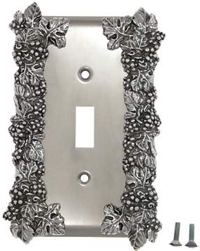Grapes & Floral Wall Plate (Bright Nickel Finish)