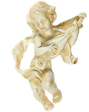 4 1/4 Inch Solid Pewter Cherub Knob With Mandolin Knob (Weathered White Finish)