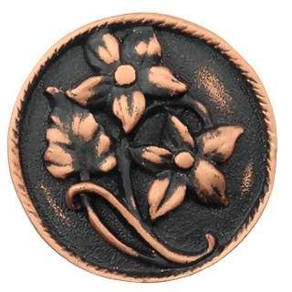 1 7/8 Inch Solid Pewter Clematis Vine Flower Knob (Left Facing, Antique Copper Finish)