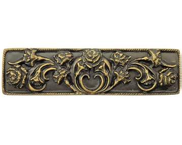 4 3/8 Inch Overall (3 Inch c-c) Solid Pewter Carnation Pull (Oil Rubbed Bronze Finish)