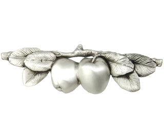 5 Inch (3 Inch c-c) Solid Pewter Apple Pull (Satin Pewter Finish)