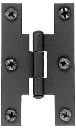 Pair of 3 Inch Tall H Style Hinges (Solid Iron, Offset)