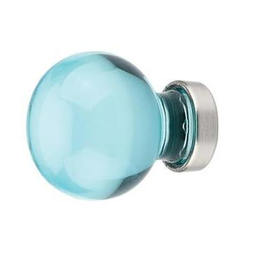 1 Inch Cyan Colored Crystal Glass Bristol Cabinet & Furniture Knob