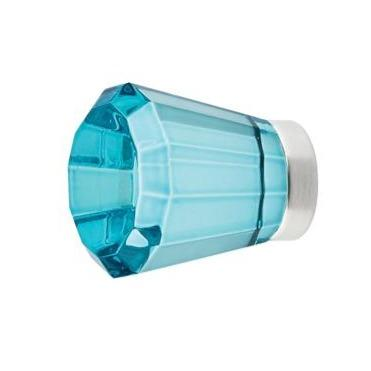 1 5/8 Inch Cyan Colored Crystal Glass Brookmont Cabinet & Furniture Knob