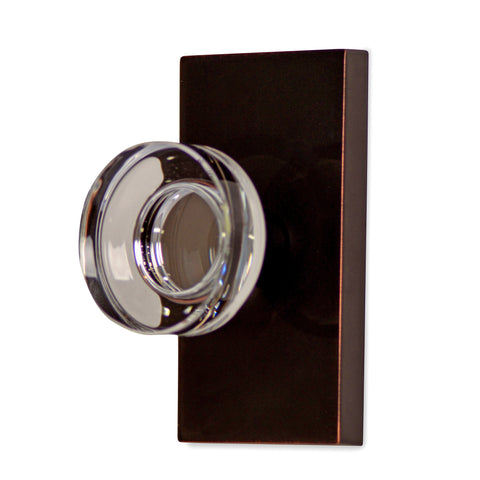 (Several Finish Options) Crystal Disc Door Knob with Rectangular Plate