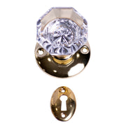 Providence Octagon Glass Regular Rosette Style Mortise Doorknob Set