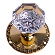 Providence Octagon Glass Egg & Dart Style Mortise Doorknob Set (Non-Locking)