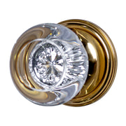 Traditional Round Crystal Antique Door Knob with Victorian Rosette (Several Finishes Available)