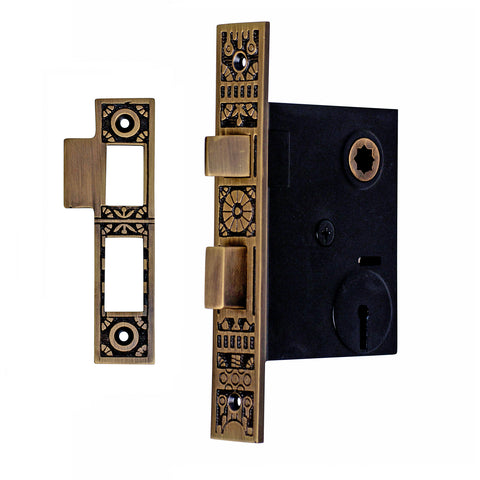 Eastlake Style Mortise Lock Body Set with Cylinder (Antique Brass Finish)
