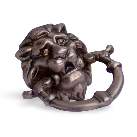 2 4/5 Inch Solid Brass Lion Drop Pull (Antique Nickel Finish)