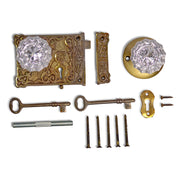 Double Locking Victorian Rim Lock Set with Regency Fluted Glass Knob and Regular Rosette (Antique Brass Finish)