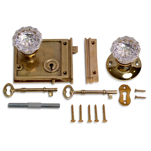 Double Locking Rim Lock Set with Regency Fluted Glass Knob and Regular Rosette (Polished Brass Finish)