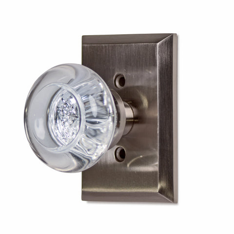 Traditional Round Crystal Door Knob with Rectangular Plate (Several Finishes Available)
