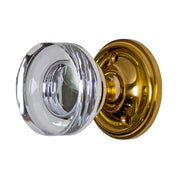 Crystal Clear Disc Door Knob Set with Victorian Rosette (Several Finishes Available)