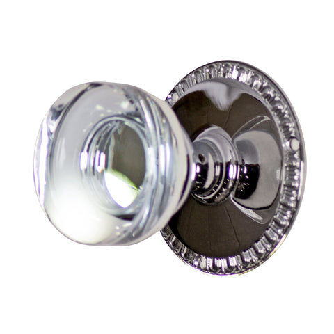 Crystal Clear Disc Door Knob Set with Egg & Dart Rosette (Several Finishes Available)