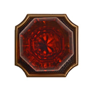 Amber Octagon Crystal Door Knob Set with Two-Tone Vintage Square Plate