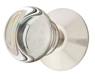 Providence Round Crystal Door Knob Set with Round Rosette