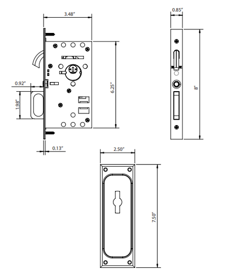 Solid Brass Passage Pocket Door Mortise Lock