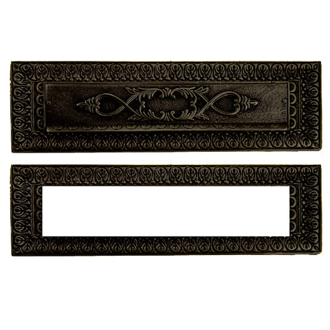 Antique Front Door Mail Slot - Victorian Style (Oil Rubbed Bronze Finish)
