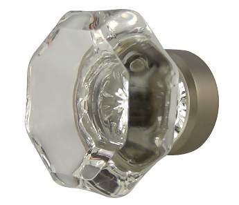 1 3/8 Inch Crystal Octagon Old Town Cabinet Knob (Brushed Nickel Base)
