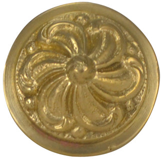 1 1/3 Inch Solid Brass Baroque / Rococo Knob (Polished Brass Finish)
