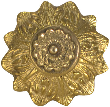 2 2/5 Inch Solid Brass Victorian Sunflower Knob (Polished Brass Finish)