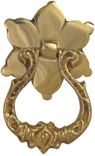 2 2/5 Inch Solid Brass Ornate Flower Pattern Drop Pull (Polished Brass Finish)