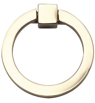 3 Inch Mission Style Solid Brass Drawer Ring Pull (Polished Brass)