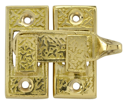 Solid Brass Rice Pattern Cabinet Latch (Polished Brass Finish)
