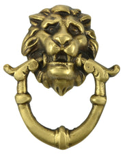 2 4/5 Inch Solid Brass Baroque / Rococo Lion Drop Pull (Antique Brass Finish)