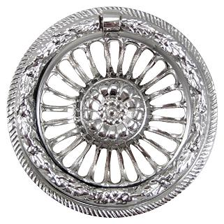 3 5/8 Inch Solid Brass Radiant Flower Drawer  Ring Pull (Polished Chrome)