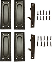 Georgian Square Double Pocket Passage Style Door Set (Oil Rubbed Bronze Brass)
