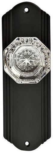 Providence Crystal Door Knob Set with Art Deco Back Plate