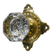 Providence Octagon Crystal Door Knob with Art Deco Rosette (Several Finishes Available)