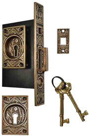 Oriental Pattern Single Pocket Privacy (Lock) Style Door Set (Antique Brass)