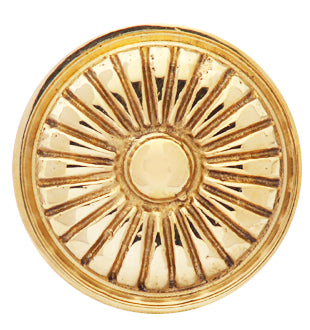 1 1/3 Inch Solid Brass Vintage Art Deco Fan Knob Polished Brass Finish