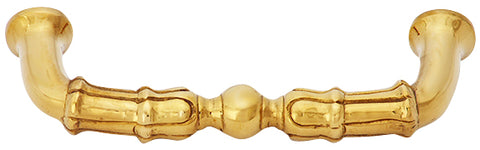 5 Inch Overall (4 1/3 Inch c-c)  Solid Brass Victorian Style Pull (Polished Brass Finish)