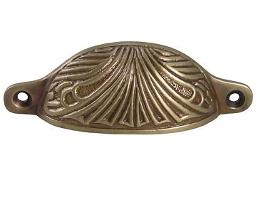 4 Inch Overall (3 2/5 Inch c-c) Solid Brass Art Deco Bin or Cup Pull (Antique Brass Finish)