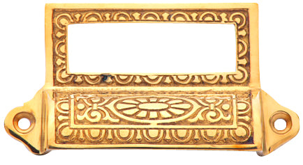 4 1/8 Inch Overall (3 1/2 Inch c-c) Solid Brass Victorian Label Style Bin Pull (Polished Brass Finish)