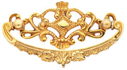 4 1/8 Inch Solid Brass Ornate Victorian Pull (Polished Brass Finish)