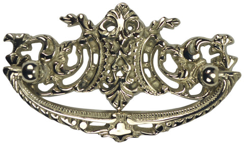 4 Inch Overall (3 Inch c-c) Solid Brass Baroque / Rococo Bail Pull (Polished Nickel Finish)