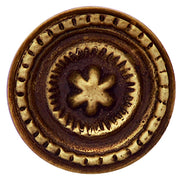 1 1/4 Inch Solid Brass Beaded Star Round Knob (Antique Brass Finish)