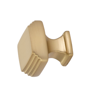 Emtek 1 1/4 Inch Solid Brass Art Deco Knob (Satin Brass Finish)