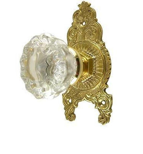 Regency Fluted Glass Door Knob Victorian Style Rosette