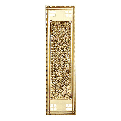 12 Inch Craftsman Style Push Plate (Polished Brass Finish)