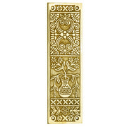 10 Inch Broken Leaf Pattern Solid Brass Push Plate (Polished Brass Finish)